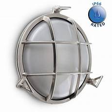 ip64 bulkhead wall light in brushed chrome outdoor wall lighting lighting