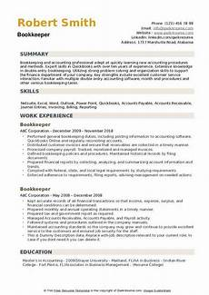 bookkeeper resume sles qwikresume