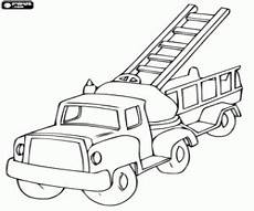 a truck with the ladder coloring page printable