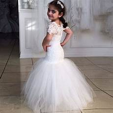nice mermaid long girls wedding dresses short sleeves communion dresses hollow back wedding