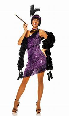 S Purple Fringed Flapper Costume S 1920