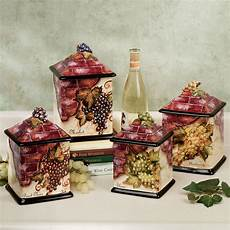 wine theme grape and wine kitchens decor canisters sets