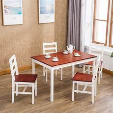 Restaurant Kitchen Furniture Mecor 5 Dining Table Set 4 Wood Chairs Kitchen