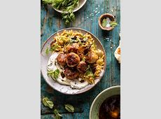 greek pasta with meatballs and feta cheese_image