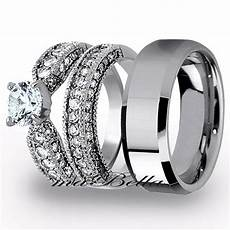 best 3 pcs mens tungsten womens stainless steel engagement wedding ring ebay