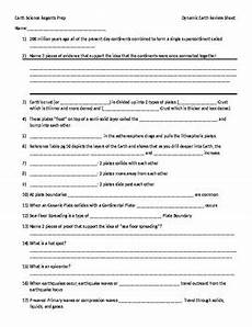 earth science review worksheet answers 13253 earth science regents dynamic earth review worksheet only by kristen wagner