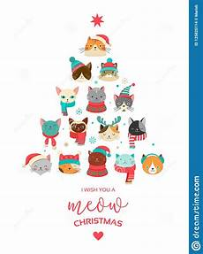 merry christmas greeting card with cute tree with cats headsn stock vector illustration