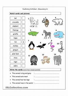 learning animals worksheets 13934 vocabulary matching worksheet elementary 2 6 animals stage jan 2016 south africa