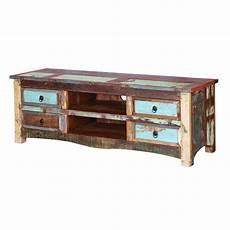 Tv Regal Holz - appalachia reclaimed wood open shelf 4 drawer tv media console