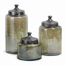glass kitchen canisters set of 3 rustic tinted hammered glass jar canisters with