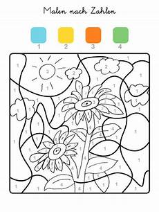 kostenlose malvorlage malen nach zahlen sonnenblumen