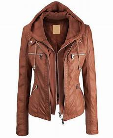 brown faux leather jacket womens jacket with