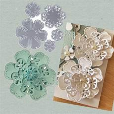 Blooming Flower Cutting Scrapbook Card Photo by 5 Pcs 3d Flowers Scrapbook Craft Cutting Dies Greeting