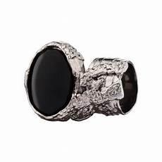 yves laurent black gemstone silver rings rings for