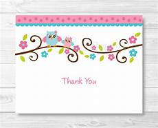 thank you card template pink owl thank you card folded card template owl baby