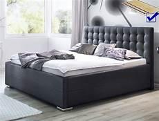 schlafzimmer betten polsterbett toni 180x200 kunstleder schwarz bettkasten