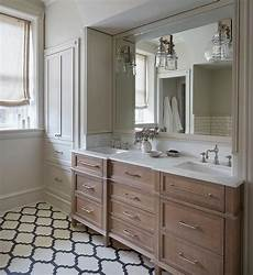 Bathroom Ideas With Oak Cabinets by Charming Bathroom Boasts A Brushed Oak Dual Vanity