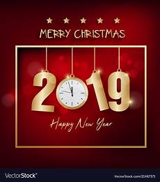happy new year 2019 and merry royalty free vector