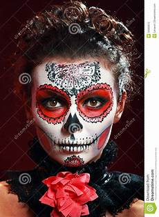 Totenkopf Schminken Mann - make up sugar skull stock photography image