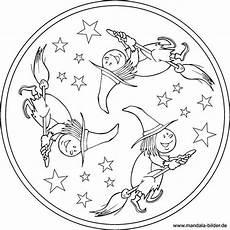 mandala mit einer kleinen hexe die auf ihrem besen reitet