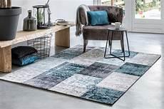 tapis vintage gris bleu tapis patchwork dans les tons