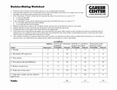 decision making worksheet careers worksheet for 11th 12th grade lesson planet