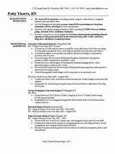 registered nurse resume sle intensive care unit nursing