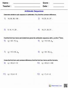 arithmetic sequence worksheet with answers algebra 2 worksheets sequences and series worksheets
