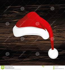 merry christmas santa claus hat vector greeting card wooden background stock vector