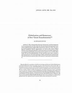 pdf globalization and democracy a new quot great transformation quot