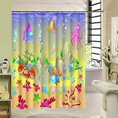 kids shower curtain polyester fabric 3d print waterproof bathroom sea world pattern fish turtle