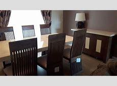 DFS Marble Dining Table & 6 Chairs & Matching Sideboard