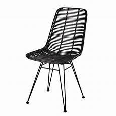 chaise metal noir chaise en rotin et m 233 tal pitaya maisons du monde