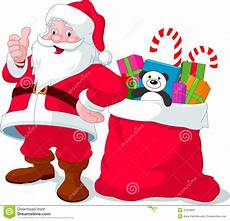 cadeau pere noel santa claus with sack of gifts stock vector