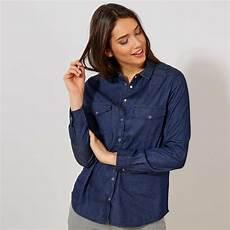 chemise regular en denim femme bleu brut kiabi 12 00