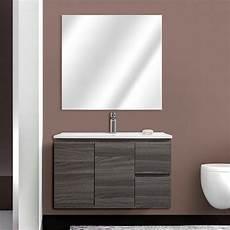 specchio con cassetti mobile bagno sospeso 80 cm 2 ante e 2 cassetti rovere