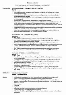 manager vendor management resume sles velvet