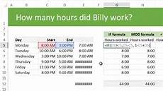 calculating total working hours using excel exle