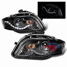 led drl for 2006 2007 2008 audi a4 s4 b8 projector black headlights pair ebay