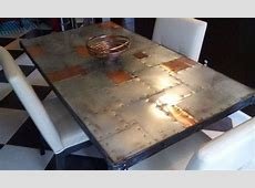 Copper & Zinc Dining Table   Rustic and Modern Riveted