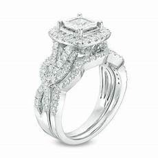 1 1 2 ct t w princess cut diamond frame vintage style twist bridal in 14k white gold