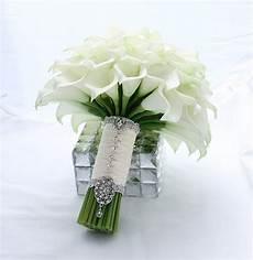 bridal bouquet real touch creamy white mini calla lily wedding