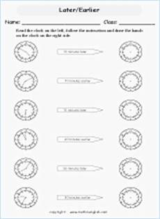 time worksheets earlier and later 2983 draw the hour and minute on each clock time worksheet to the nearest 30 minutes through