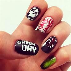 green day nails nail art band nails punk with