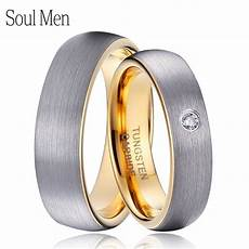 1 pair silver gold color dome tungsten carbide wedding