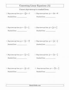 the converting from slope intercept to standard form a math worksheet from the algebra