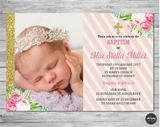 invitation card christening layout floral christening baptism invitation invite card