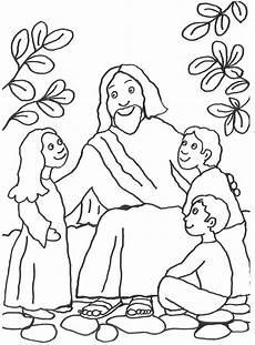 Malvorlagen Religion Grundschule Jesus Spricht Mit Kindern Mit Buntstiften Oder