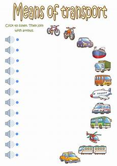transportation worksheets esl 15184 means of transport listening interactive worksheet