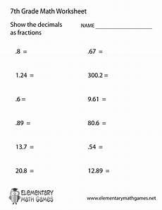 decimals worksheets for highschool students 7163 free printable decimals worksheet for seventh grade 7th grade math worksheets 7th grade math